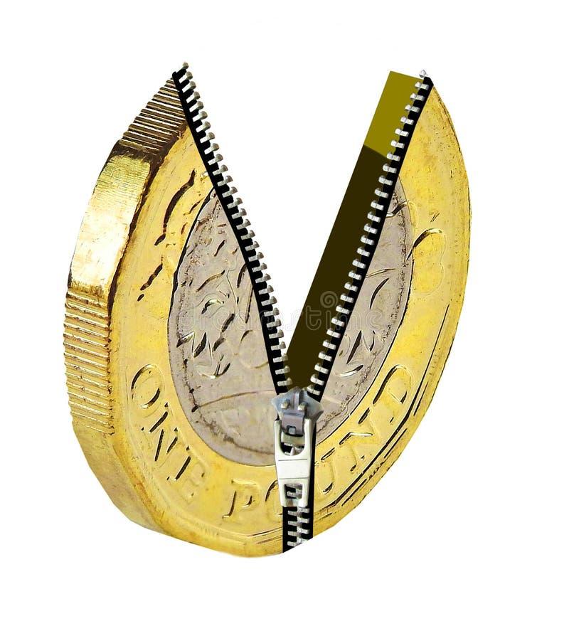 Unziping unzip britânico moeda bimetal de uma libra revela dinheiro dinheiro aberto poupança bancária futuras finanças financeira foto de stock royalty free