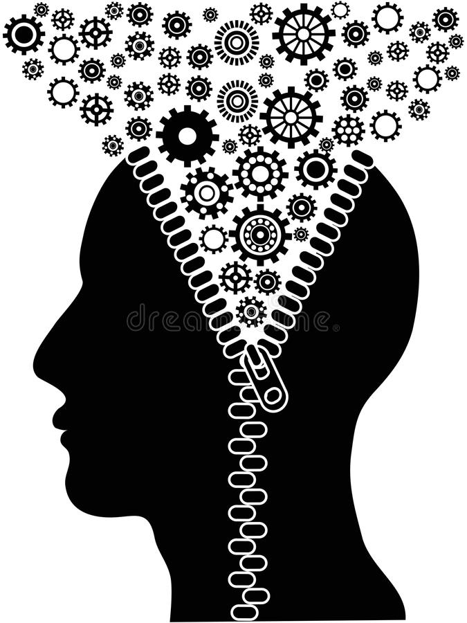 Unzipped human head with cogs stock illustration