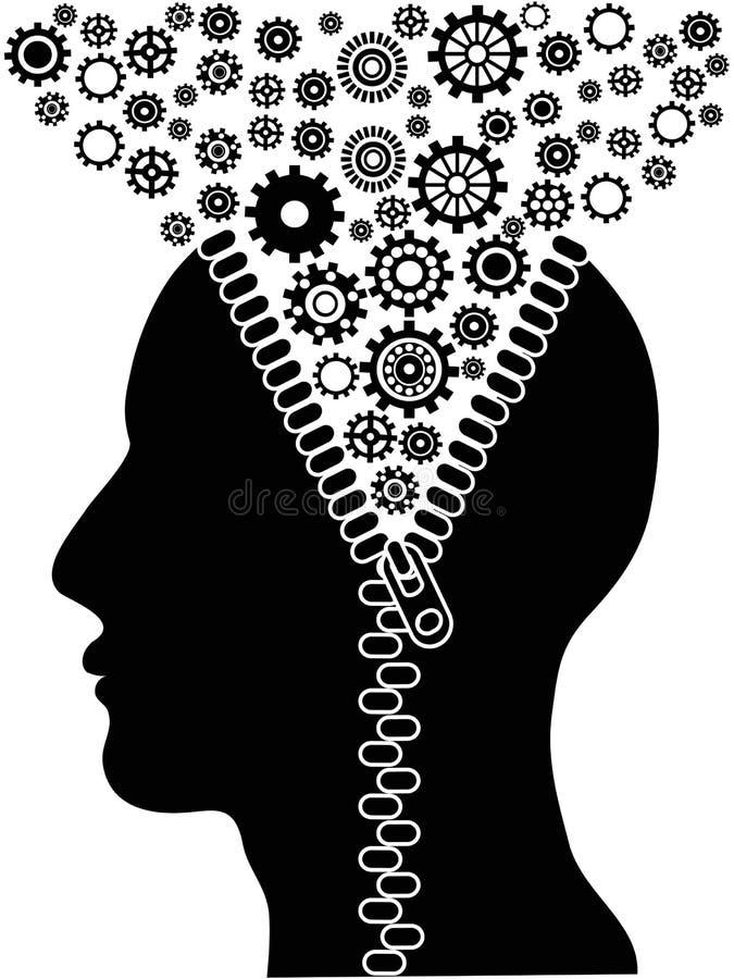 Unzipped ludzka głowa z cogs ilustracji