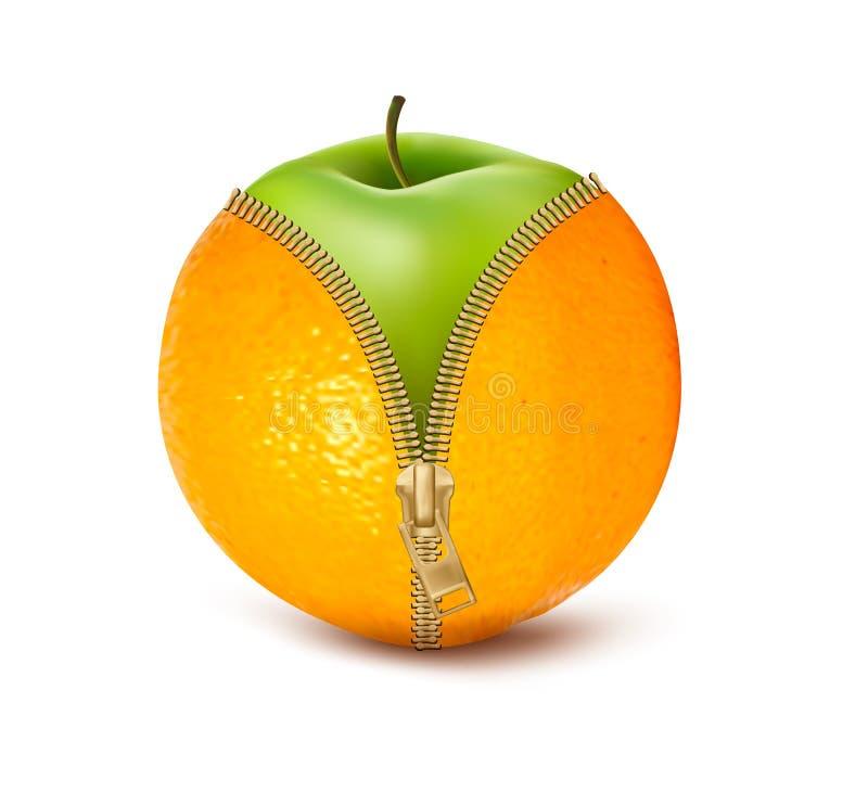 Unzipped pomarańcze z zielonym jabłkiem. royalty ilustracja