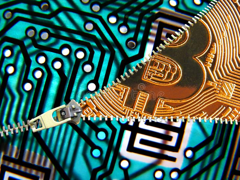 Unzipping bitcoin cryptocurrency technology. Concept photo of printed circuit board being unzipped to reveal a gold cryptocurrency bitcoin royalty free stock image