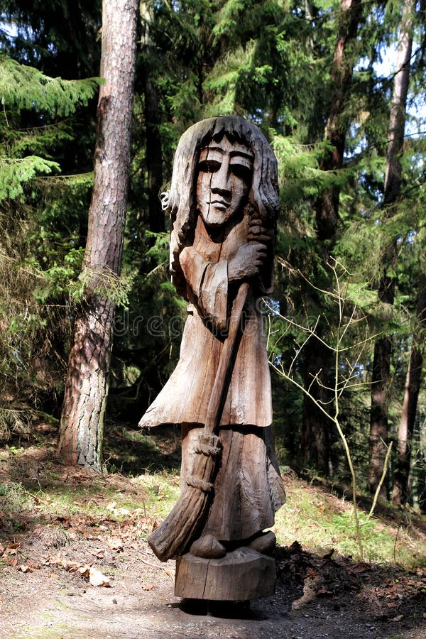 Wooden sculpture park on Witch Mountain stock images