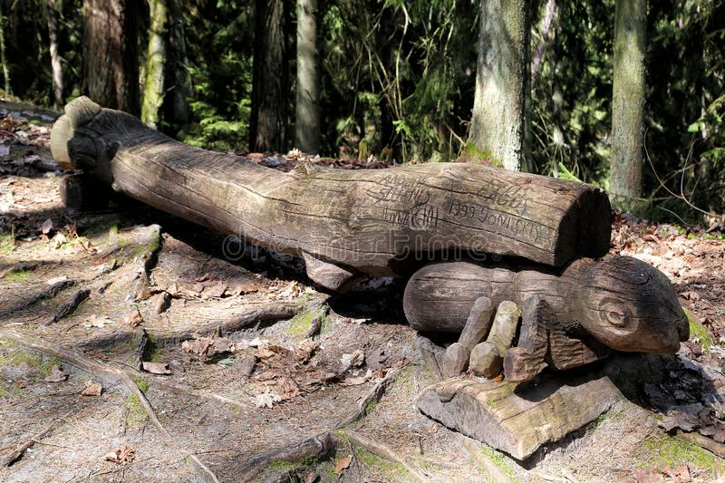 Wooden sculpture park on Witch Mountain stock image