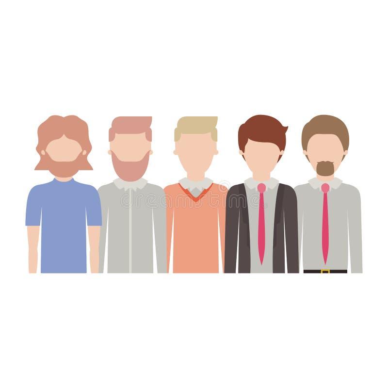 Uomini anonimi nel mezzo ente con i vestiti casuali e convenzionali con la breve acconciatura e barba in siluetta variopinta royalty illustrazione gratis