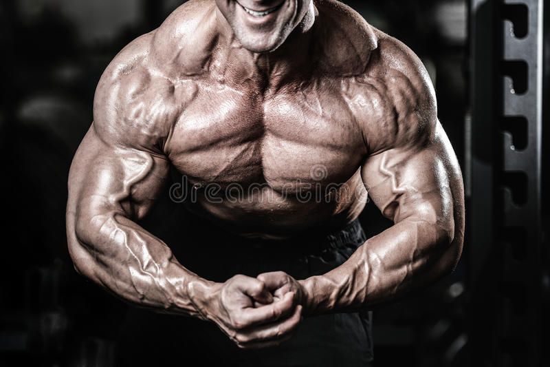 Uomini bei caucasici brutali di forma fisica sul pum del petto di addestramento di dieta immagine stock libera da diritti