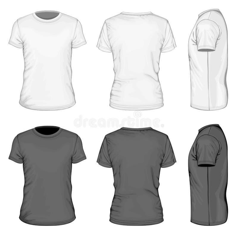 Uomini bianchi e breve maglietta nera della manica illustrazione di stock