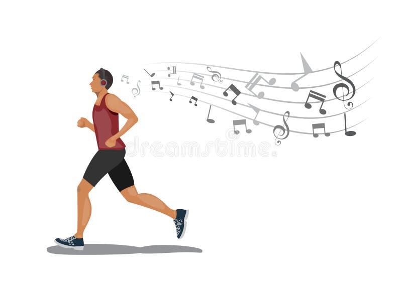 Uomini che corrono con ascoltare la musica tramite cuffie senza fili su fondo bianco illustrazione di stock