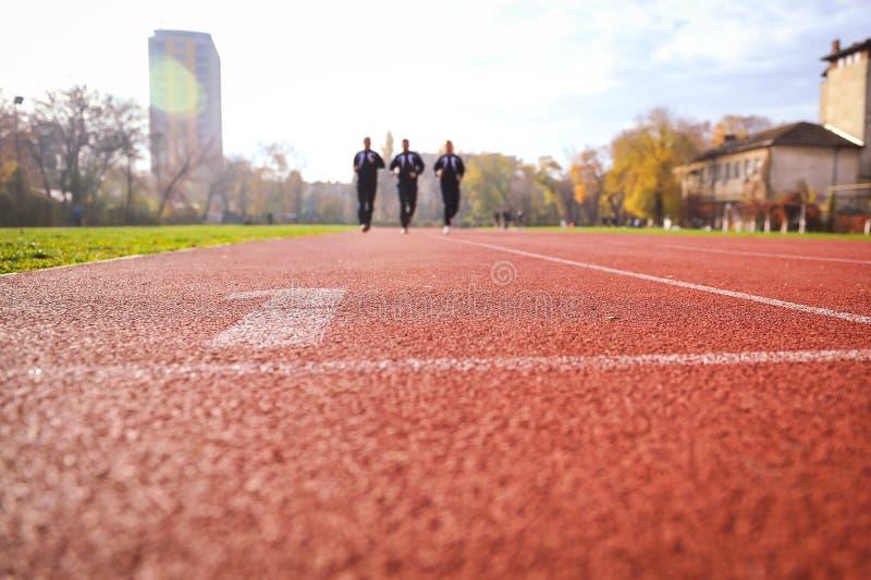Uomini che corrono sui vicoli della pista di atletica immagine stock