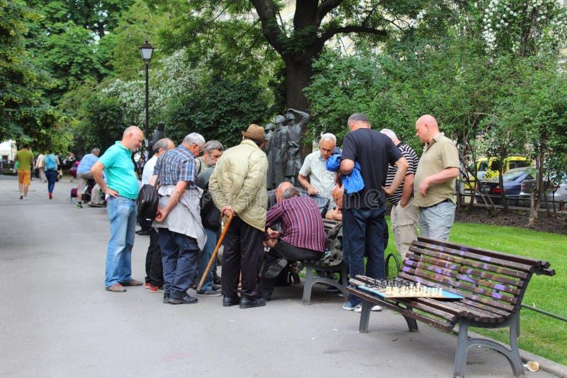 Uomini che giocano scacchi Sofia City Garden Bulgaria fotografie stock