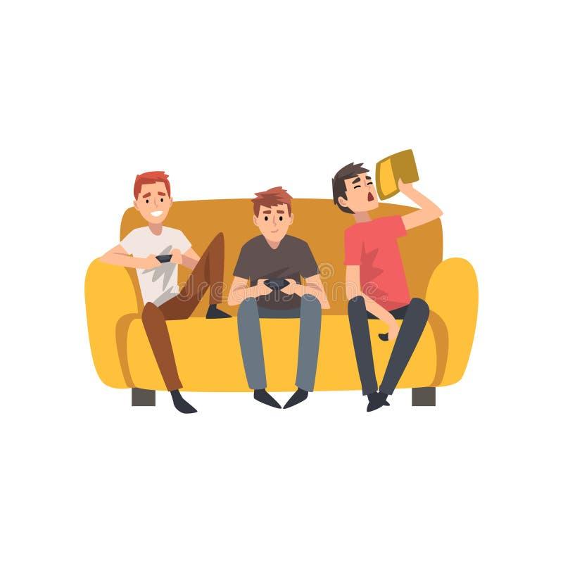 Uomini che si siedono insieme su Sofa And Playing Computer Games, tempo di spesa dei migliori amici buon, vettore maschio di amic illustrazione di stock