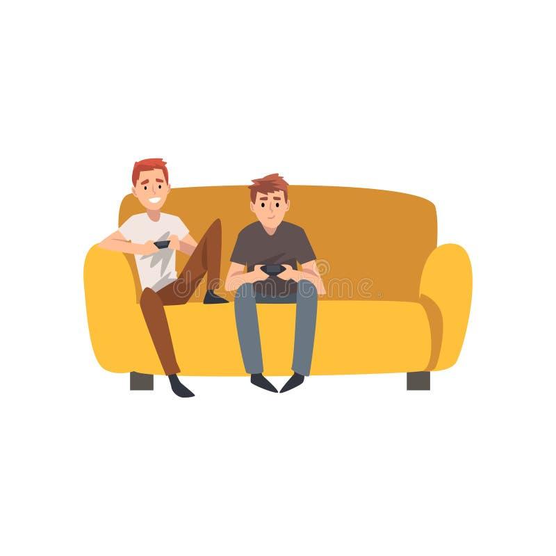 Uomini che si siedono su Sofa And Playing Computer Games, migliori amici che spendono insieme tempo a casa, vettore maschio di am royalty illustrazione gratis