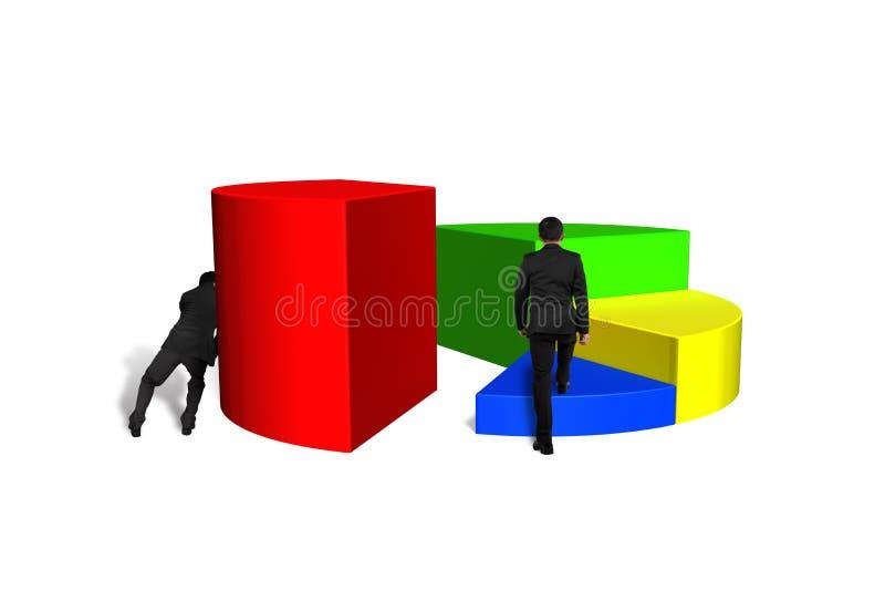 Uomini che spingono e che scalano diagramma a torta 3d illustrazione di stock