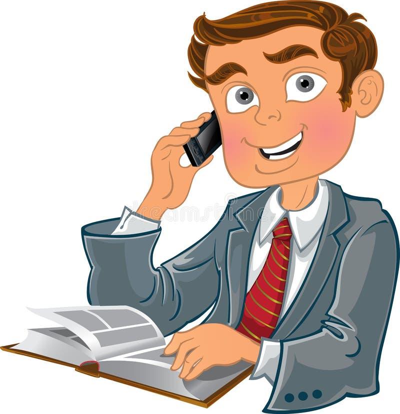 Uomini con il telefono ed il libro royalty illustrazione gratis