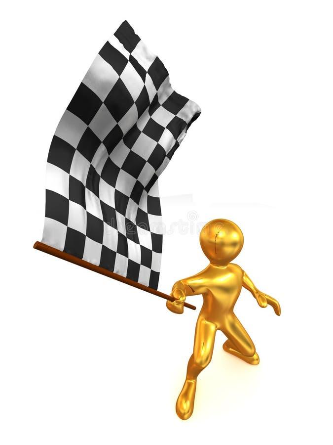 Uomini con la bandierina checkered royalty illustrazione gratis