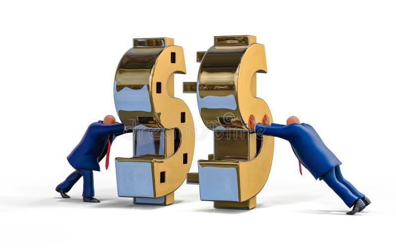 Uomini d'affari che fanno soldi nella cooperazione Illustrazione di concetto di affari illustrazione vettoriale