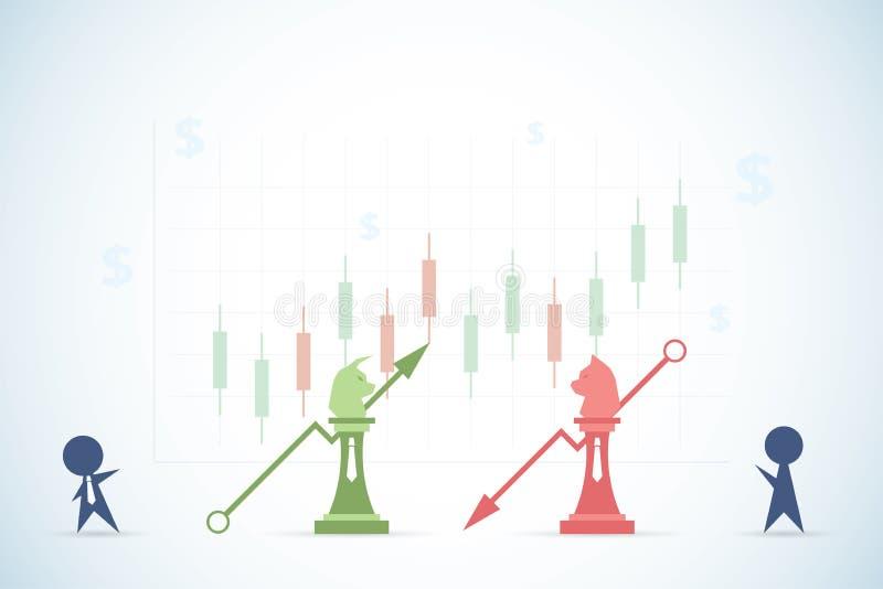 Uomini d'affari che giocano scacchi del ribassista e del toro con i simboli finanziari del dollaro e del grafico, il mercato azio illustrazione vettoriale