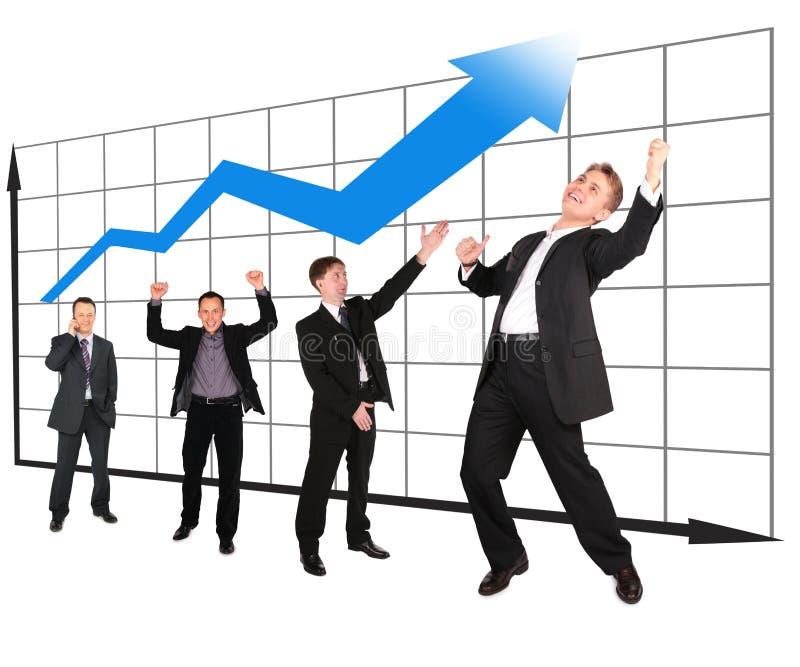 Uomini d'affari che mostrano il collage della tabella della sviluppo-parte fotografia stock