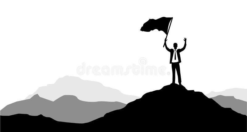 Uomini d'affari che tengono una bandiera di vittoria su un picco di montagna royalty illustrazione gratis