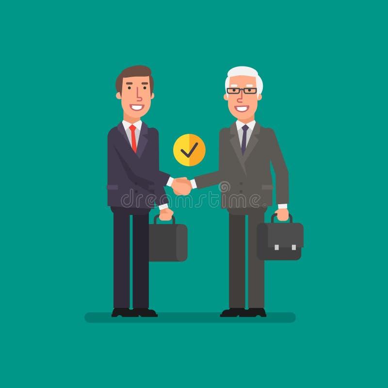 Uomini d'affari della stretta di mano due con la cartella royalty illustrazione gratis