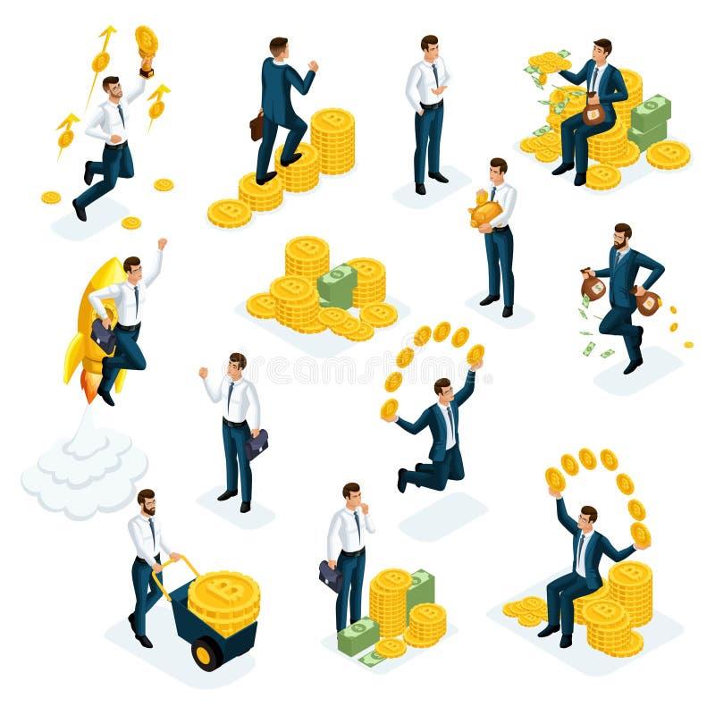 Uomini d'affari di Isometrics, investitori, speculatori, giocatori di mercato finanziario, banchieri, investimenti finanziari in  illustrazione vettoriale