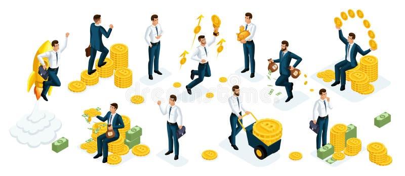 Uomini d'affari di Isometrics, investitori, speculatori, giocatori di mercato finanziario, dirigendo, investimenti finanziari in  royalty illustrazione gratis