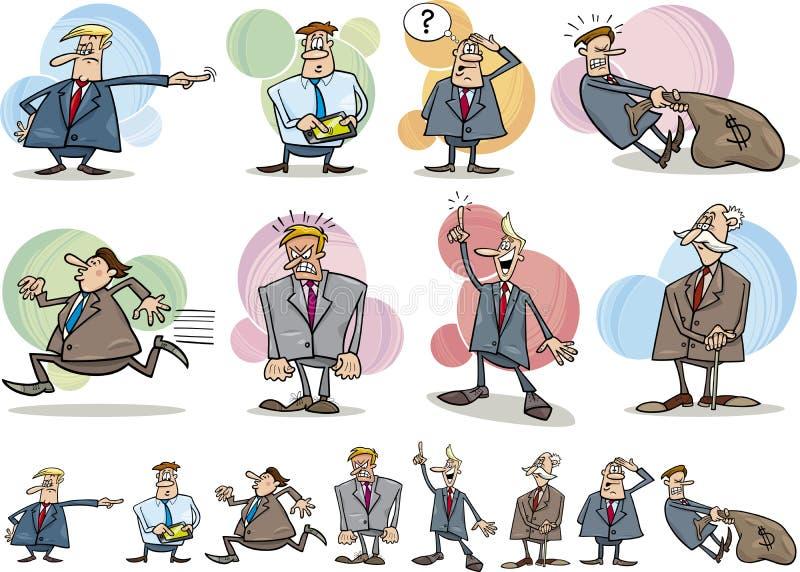 Uomini d'affari divertenti impostati illustrazione vettoriale
