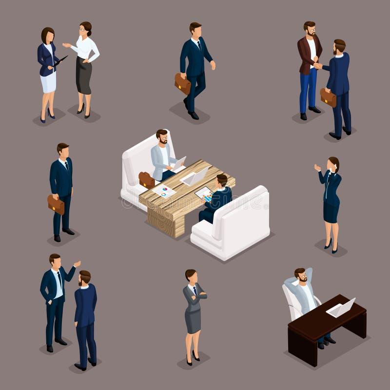 Uomini d'affari e donne di affari isometrici della gente illustrazione vettoriale