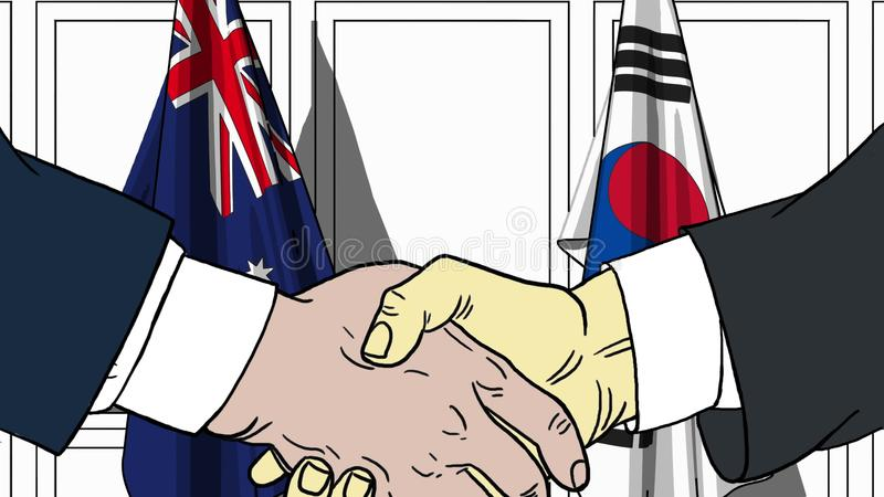 Uomini d'affari o politici che stringono le mani contro le bandiere dell'Australia e della Corea del Sud Riunione o cooperazione  illustrazione vettoriale