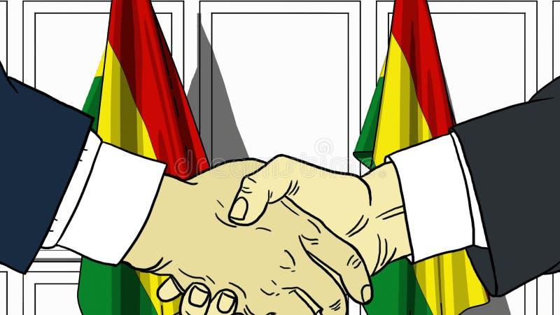 Uomini d'affari o politici che stringono le mani contro le bandiere della Bolivia Illustrazione relativa del fumetto di cooperazi illustrazione di stock