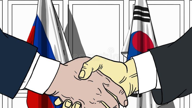 Uomini d'affari o politici che stringono le mani contro le bandiere della Russia e della Corea Riunione o fumetto relativo di coo illustrazione di stock