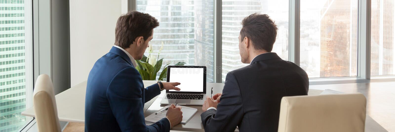 Uomini d'affari posteriori orizzontali di immagine che analizzano mercato che indica sullo schermo di computer fotografia stock libera da diritti