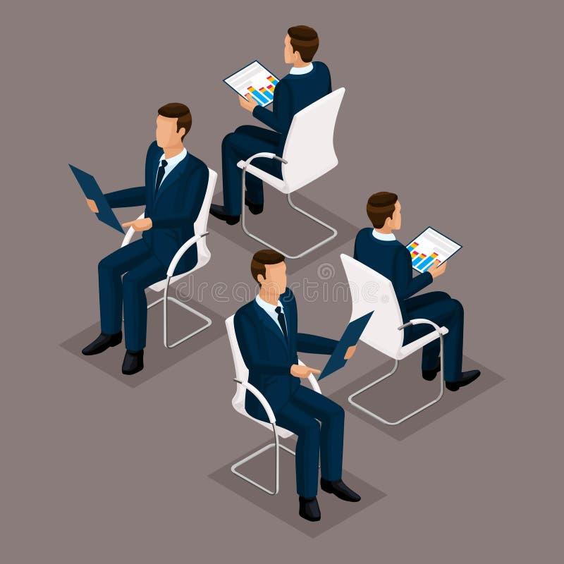 Uomini d'affari stabiliti isometrici che si siedono su una sedia royalty illustrazione gratis