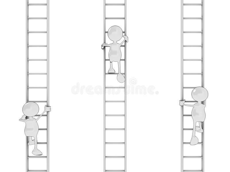 Uomini del fumetto che salgono le scale royalty illustrazione gratis