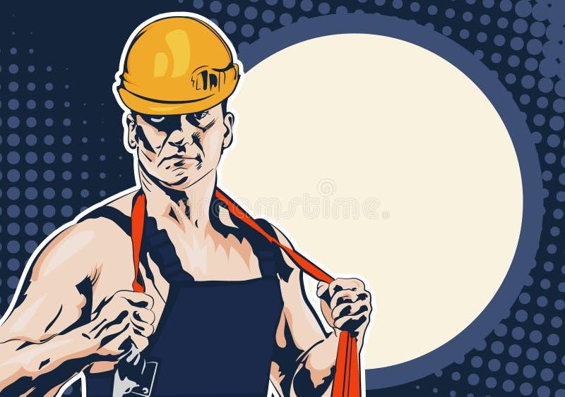 Uomini del lavoratore dell'industria con la corda illustrazione vettoriale