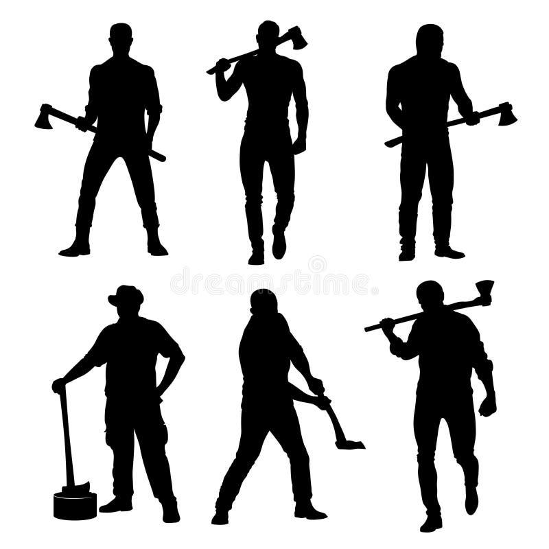 Uomini dell'ascia Uomini dalla professione del taglialegna immagini stock