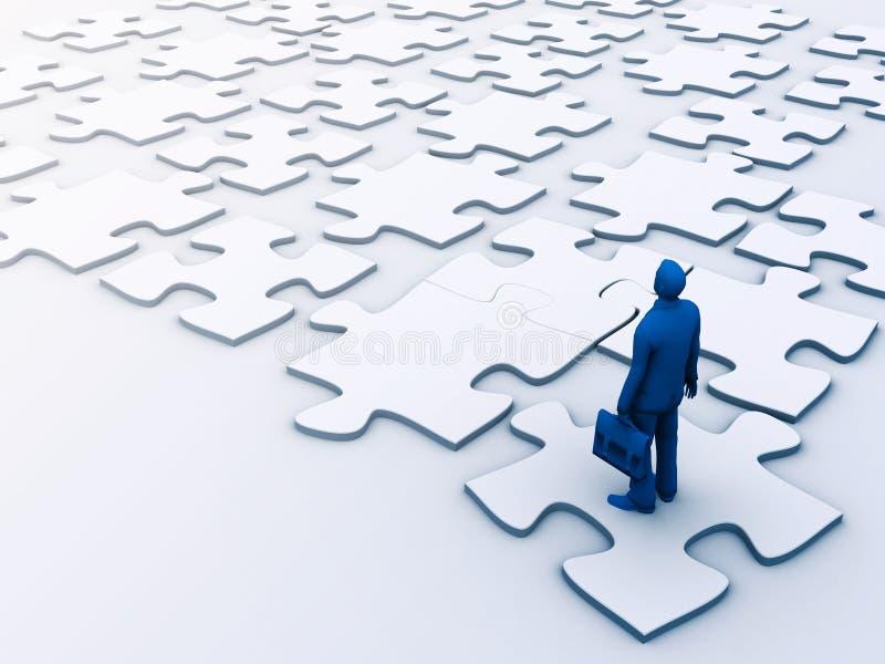 Uomini di affari che fanno un puzzle fotografia stock