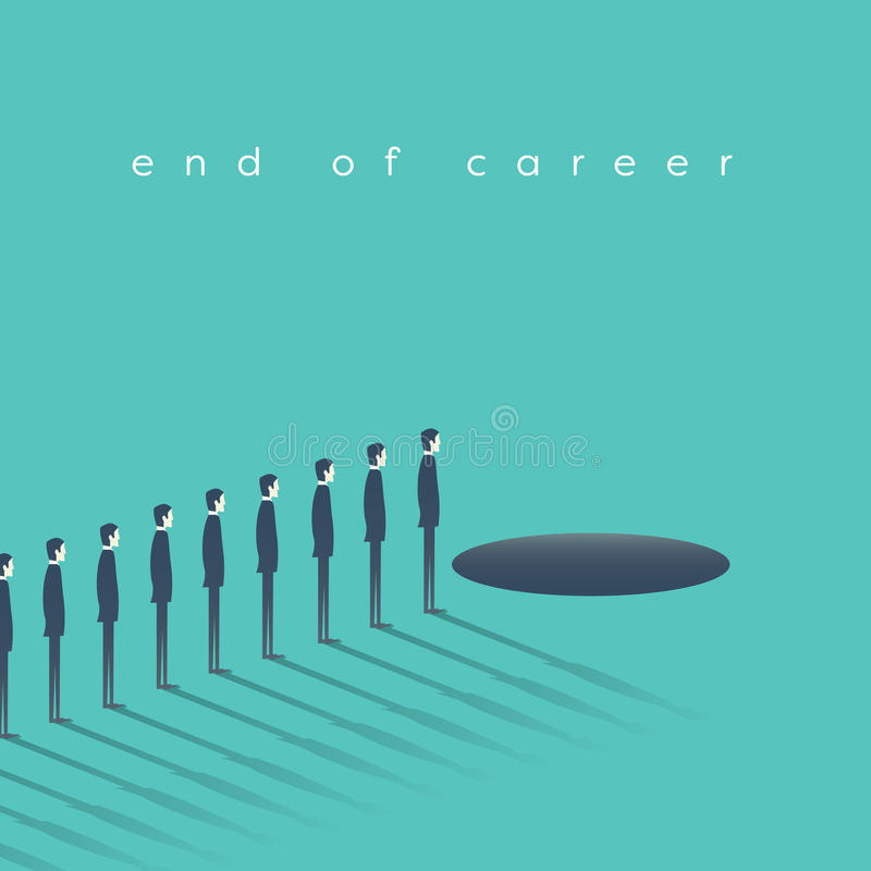 Uomini di affari che partecipano davanti al foro come un'estremità di carriera di simbolo, pensionamento illustrazione vettoriale