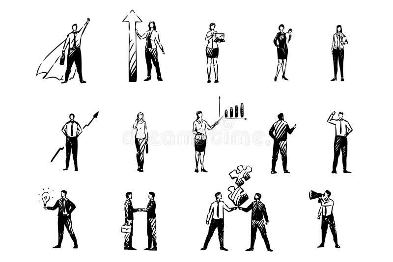 Uomini di affari e donne, analista finanziario, commercianti del mercato azionario, colleghi, giovani imprenditori, insieme degli illustrazione vettoriale