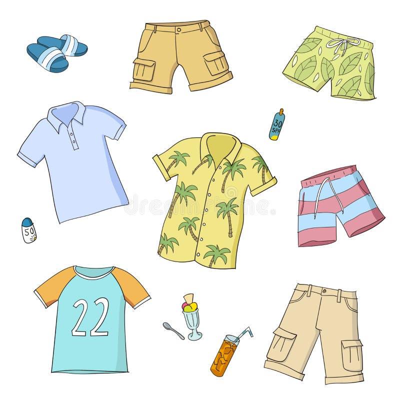 Uomini di estate e vestiti dei ragazzi Insieme delle illustrazioni variopinte di vettore illustrazione vettoriale
