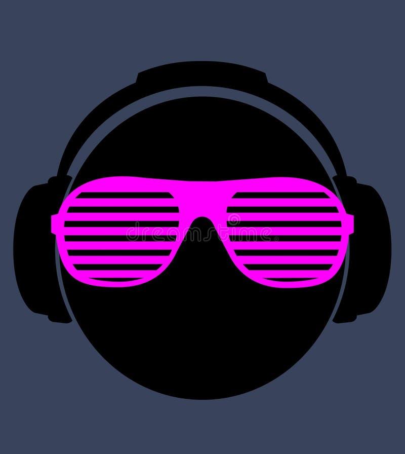 Uomini DJ in cuffia. illustrazione della stampa di vettore royalty illustrazione gratis
