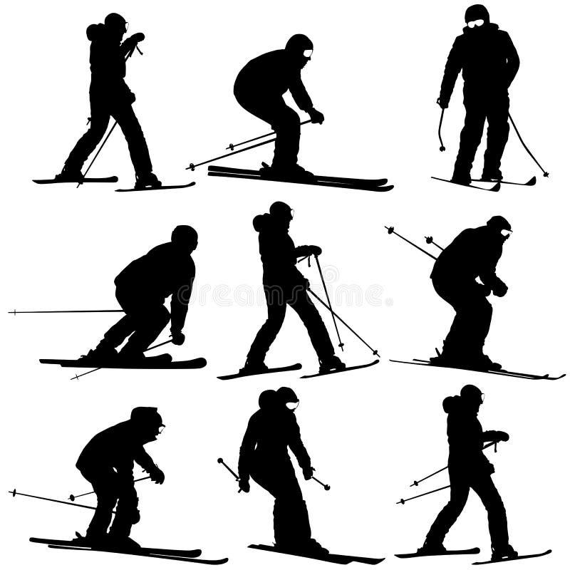 Uomini e donna dello sciatore della montagna che accelerano giù il pendio illustrazione di stock