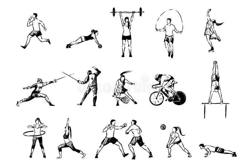 Uomini e donne che risolvono, ciclando, pattinaggio artistico professionale, recintante, pugilato, gioco di tennis, insieme di at illustrazione vettoriale