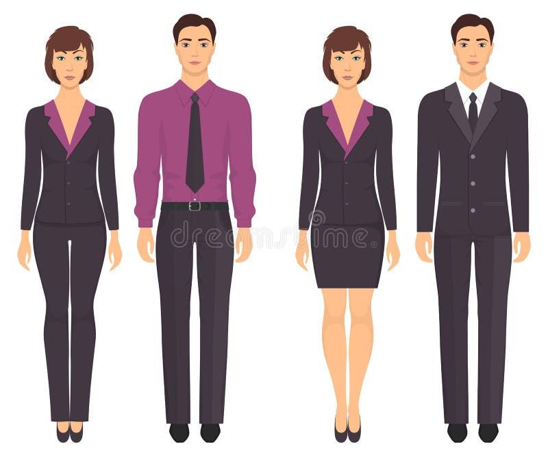 Uomini e donne che stanno nella piena crescita in vestiti convenzionali Coppie in elegante e abbigliamento casual Guardaroba di b illustrazione di stock