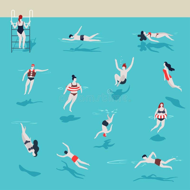 Uomini e donne della piscina in acqua che salta e che si tuffa illustrazione di stock