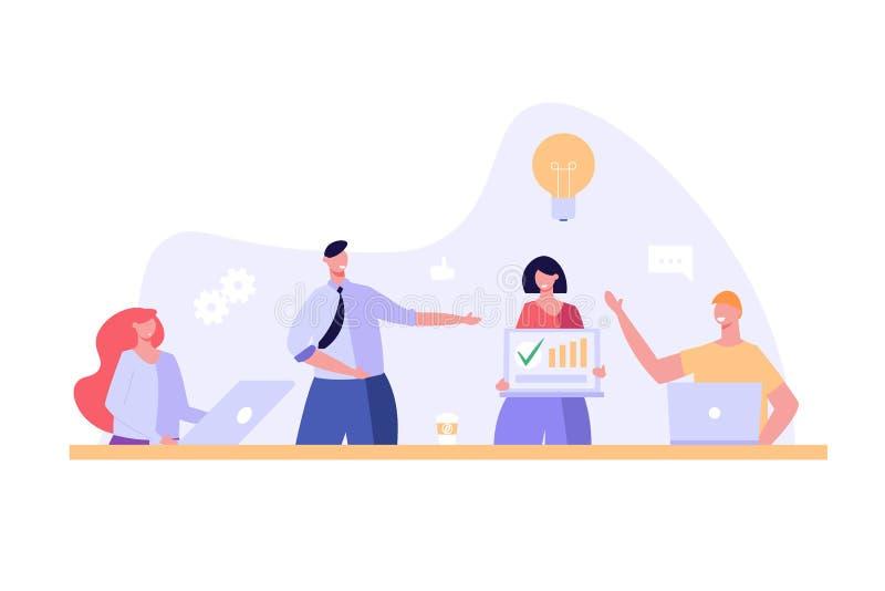 Uomini e donne seduti e in piedi in ufficio Team di persone sul posto di lavoro che lavorano insieme per una soluzione concetto d illustrazione vettoriale
