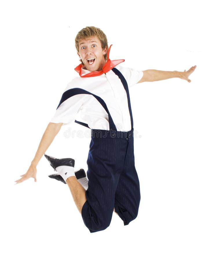 Uomini felici di salto isolati. fotografie stock