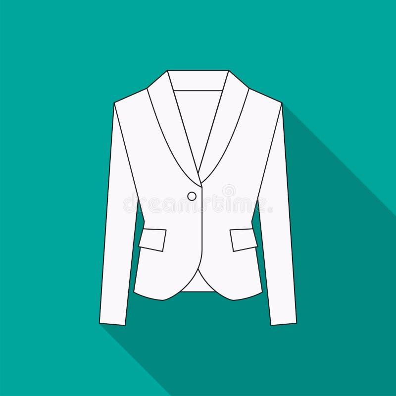 Uomini giacca sportiva o icona piana semplice di vettore di simbolo del vestito o del rivestimento nella linea progettazione illustrazione vettoriale