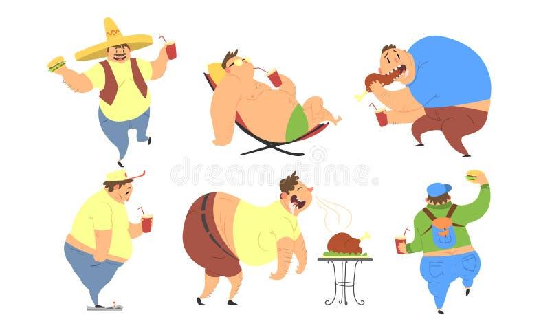 Uomini grassi divertenti insieme, cattive abitudini, stile di vita non sano dell'illustrazione di peso eccessivo di vettore delle illustrazione di stock