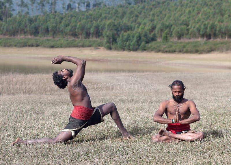 Uomini indiani che fanno esercizio di yoga su erba verde nel Kerala, India del sud fotografia stock