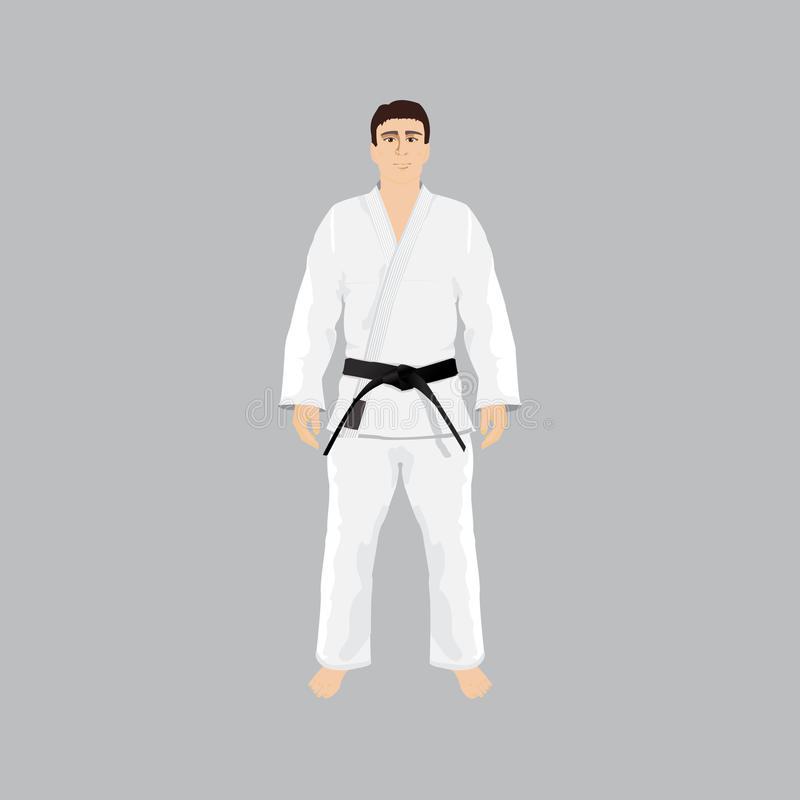 Uomini nel judo e in jiu-jitsu di usura di sport illustrazione di stock